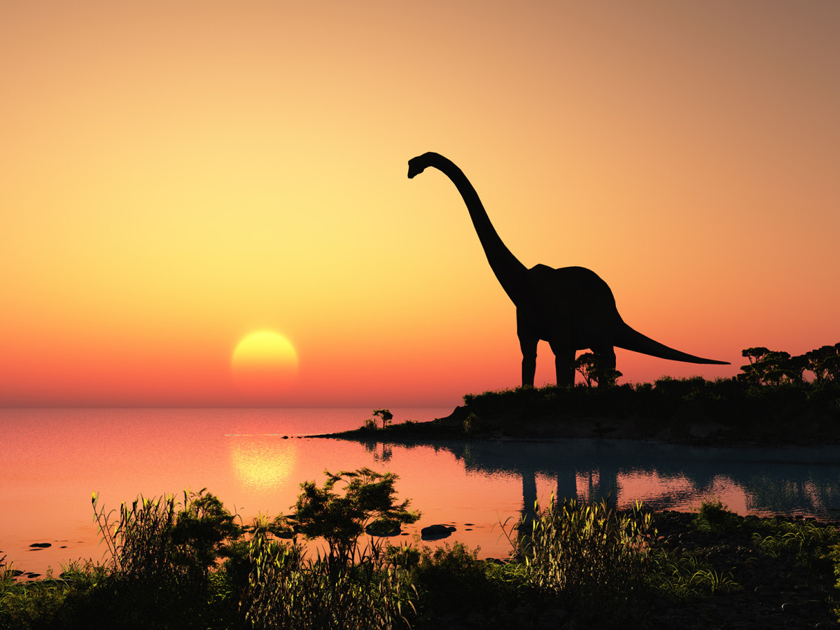 A large dinosaur looking out over the ocean and a magnificent sunset